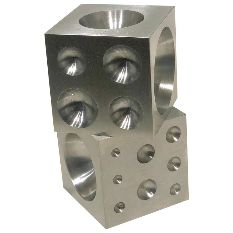 Pair of Decorative Solid Steel Dice Cubes Paperweight