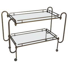 1970s Mid-Century Modern Brass Bar Cart with Two Glass Shelves