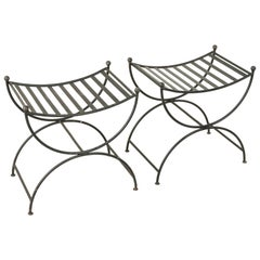 Pair of Mid-20th Century French Iron Benches, Banquettes, or Stools