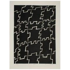 1980 Graphic Black and White Mitsuaki Sora Woodblock Print, Japan