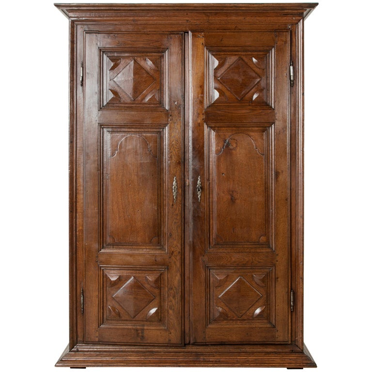 Small Scale 18th Century French Louis XIV Style Hand-Carved Oak Two-Door Armoire