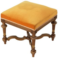 French Louis XIV Style Walnut Banquette, Stool, or Ottoman, circa 1900