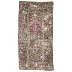 Antique Distressed 18th Century Turkish Ghyordes Rug