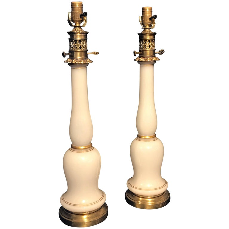 Pair of French Opaline Bronze Column Lamps