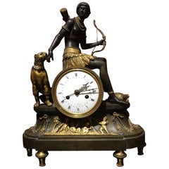 "Rare Pendulum Clock ""Africa"" Engraved Gilded Bronze, Early 19th Century, Paris"