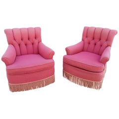 Hollywood Regency Tufted Lounge Chairs, a Pair
