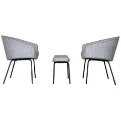 2 Armchairs and  1 Footstool by Pierre Paulin for Thonet