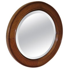 Late 19th Century Circular Wall Mirror in Golden Oak Jointed Frame Bevel Glass