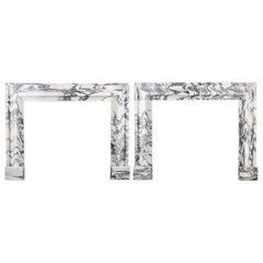 Pair of Beautiful Baroque Bolection Fireplaces in Italian Arabescato Marble