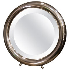 20th Century Round Silver English Dressing Table Mirror with Legs, 1930-1940s