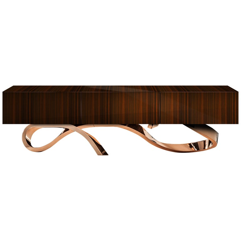 Contemporary Penance Sideboard or Console in Ebony and Copper or Brass