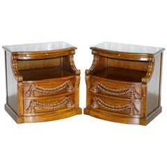 Pair of Heavy Solid Wood Side Table Bedside Table Drawers with Butlers Tray