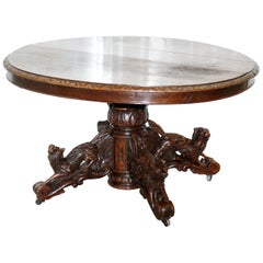 Solid Oak Victorian Hunting Table Legs Depicting Dog Boar and Foxes, circa 1880