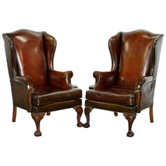 Stunning Pair of Fully Restored Claw and Wingback Cigar Brown Leather Armchairs