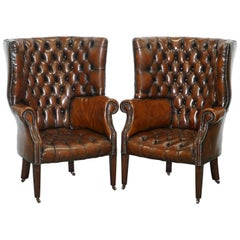 1930s Pair of Chesterfield Barrel Back Porters Wingback Armchairs Brown Leather