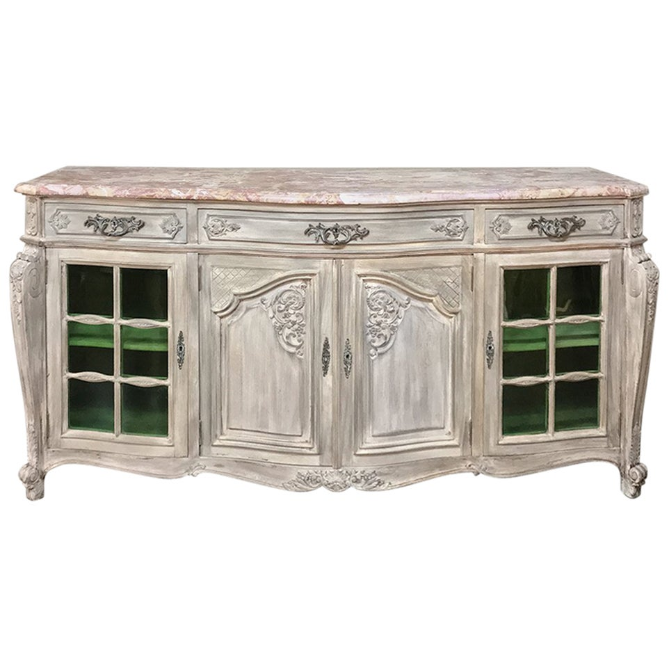 19th Century French Louis XIV Marble-Top Stripped Display Buffet