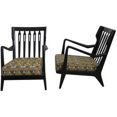 Pair of Gio Ponti Walnut Ebonized Chairs Model No 516 for Cassina, 1950s