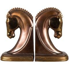 Art Deco Bronze & Copper Plated Trojan Horse Bookends by Dodge, circa 1930