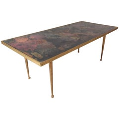 Mid-Century Modern Italian Coffee Table with Brass Legs