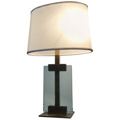 Cristal Art Couple Table Lamp Brass Cristal Cloth Shade, 1960