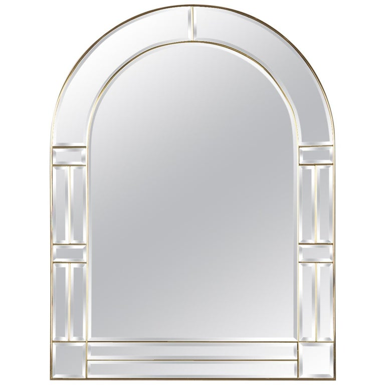 1970s Italian Beveled Glass Mirror with Brass Frame