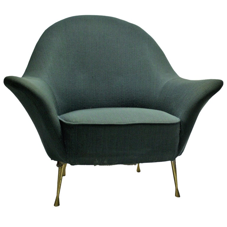 Vintage Italian Lounge Chair or Club Chair, 1950s