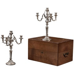 Christofle Silver Bronze Pair of Candelabra in Wood Box