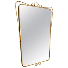 Italian Midcentury Wall Mirror with Brass Frame and Decor, 1950s