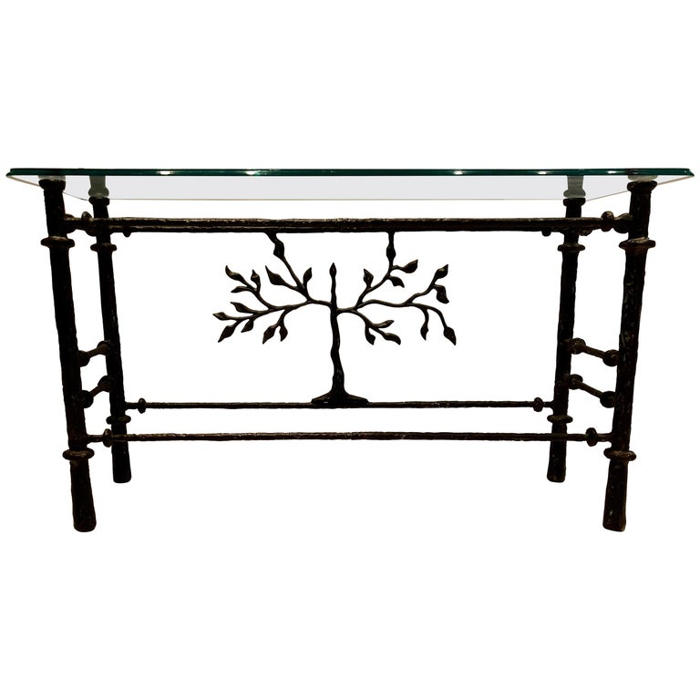 Stunning Giacometti Style Steel and Glass Console Table
