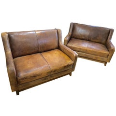 Pair of Fabulous French Leather Sofas Loveseats