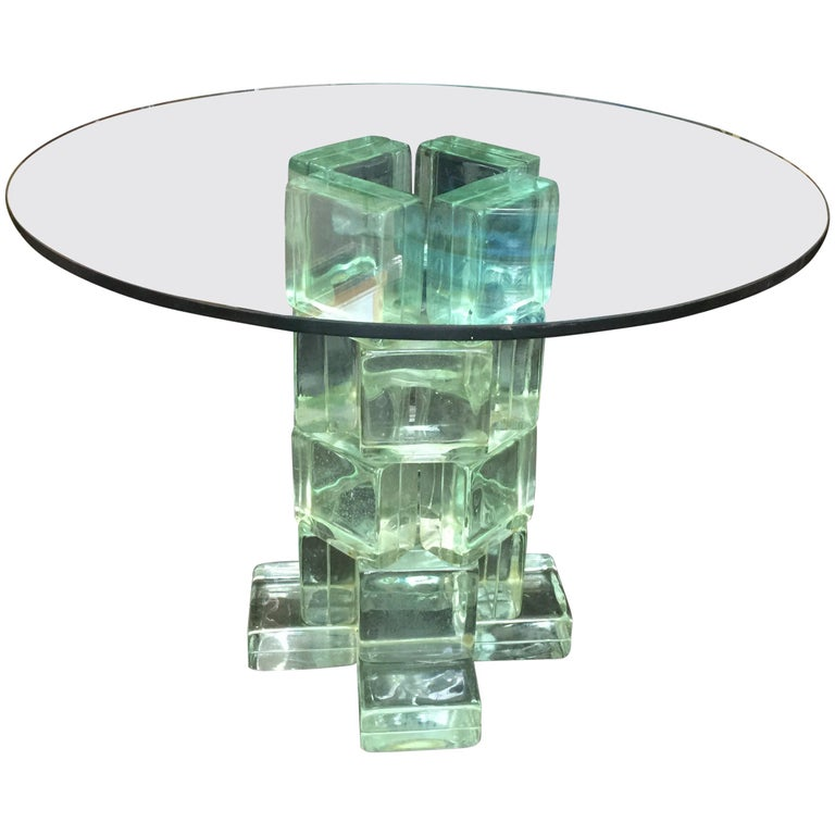 Imperial Imagineering Tall Glass Block Side Table For Sale