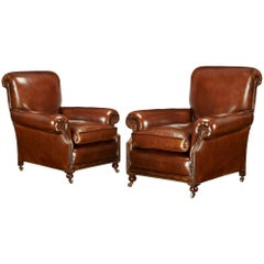 Fine Pair of Victorian Antique Leather Club Chairs