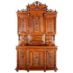 French Carved Walnut Buffet Hutch