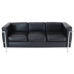 Alivar Le Corbusier Black Leather Three Seat Sofa