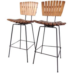 Pair of Vintage Modern Slat Barstools after Arthur Umanoff