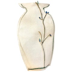 Tall Painted Porcelain Flat Vase with Blue and Black Vines by Alison Owen