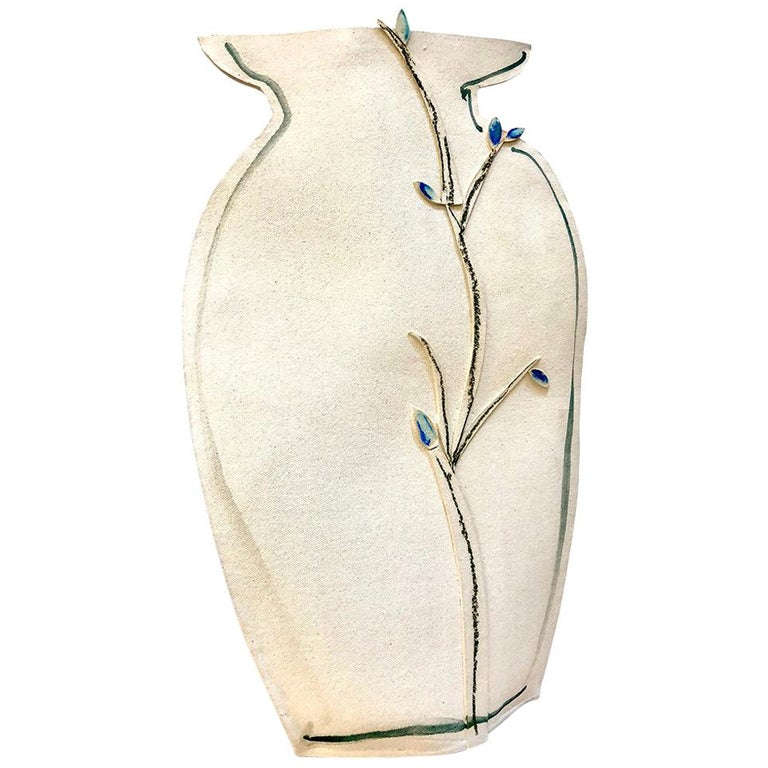 Tall Painted Porcelain Flat Vase with Blue and Black Vines by Alison Owen For Sale