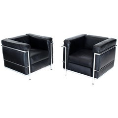 Pair of Licensed Le Corbusier Club Lounge Chairs by Alivar LC2