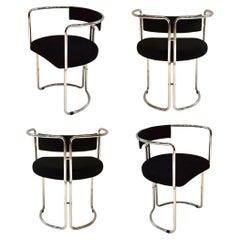 Four Tubular Metal Chairs, Italy, circa 1965