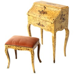 Italian Burl Wood Inlayed Drop Secretary Desk with Matching Bench Bronze Ormolu