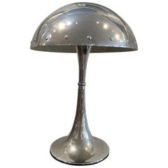 Mid-Century Modern Chrome Table Lamp with Rivets