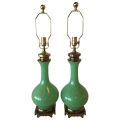 Pair of Paul Hanson Jadeite Green Glass Table Lamps Brass