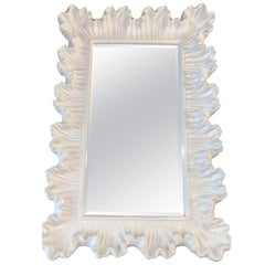 Vintage Ruffle Scalloped White Lacquered Wall Mirror