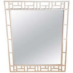 Vintage Faux Bamboo Metal White Powdercoated Wall Mirror
