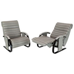 Pair of Leather Ribbed Upholstery Reclining Lounge Chairs Bent Wood Tank Style
