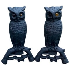 Cast Iron Owl Andirons with Amber Eyes, circa 1900