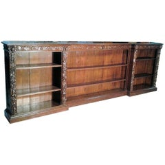 Huge French Heavily Carved Oak Bookcase, circa 1880
