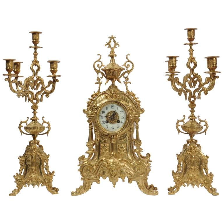 Antique French Gilt Bronze Baroque Clock Set