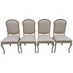 Lovely Set of 4 Vintage Carved Rope Dining Chairs Mid-Century Modern