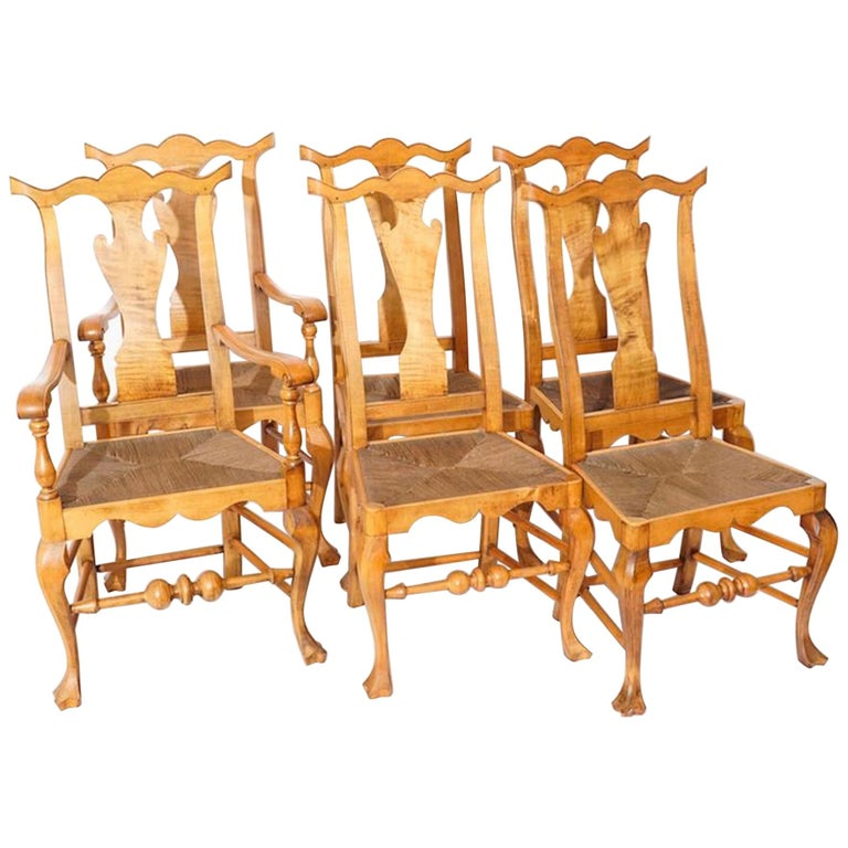 Six Chippendale Style Tiger Maple Dining Chairs